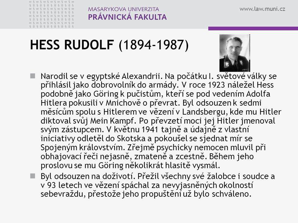 HESS RUDOLF (1894-1987)