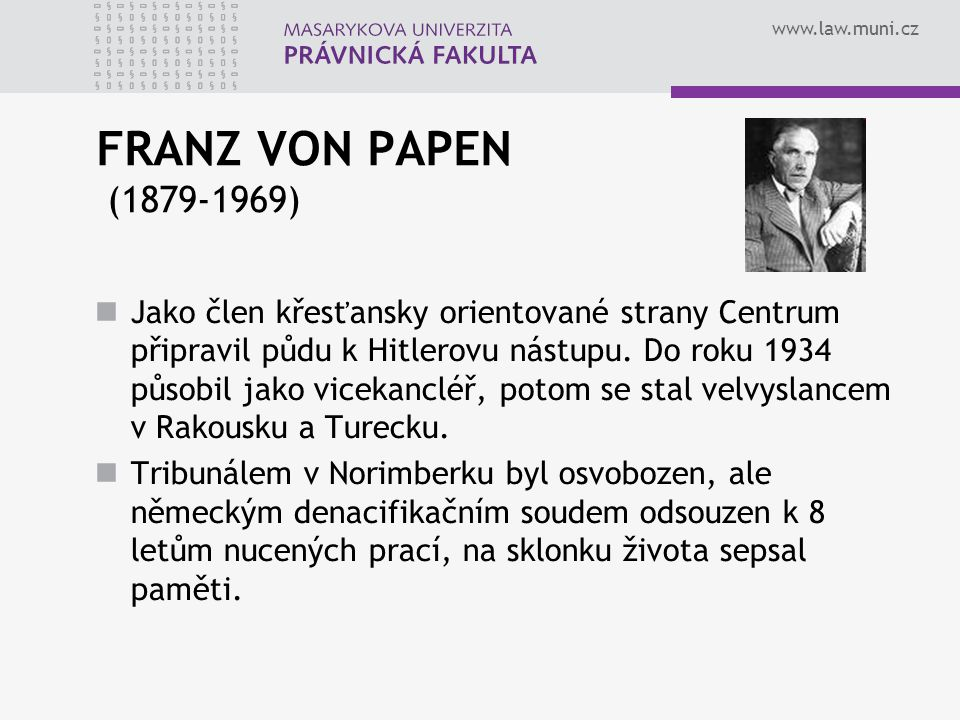 FRANZ VON PAPEN (1879-1969)
