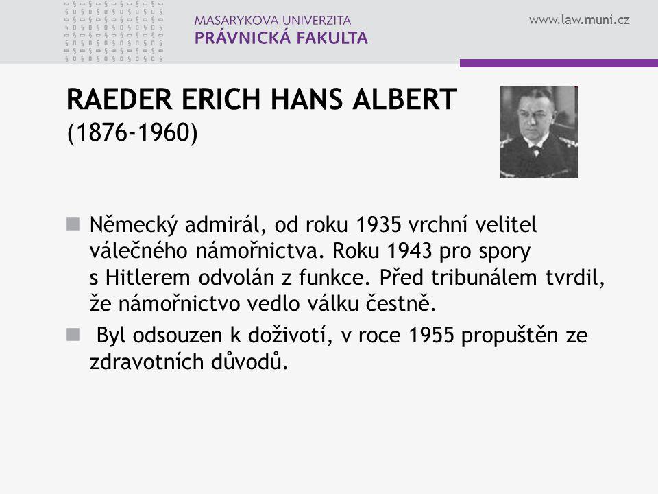 RAEDER ERICH HANS ALBERT (1876-1960)