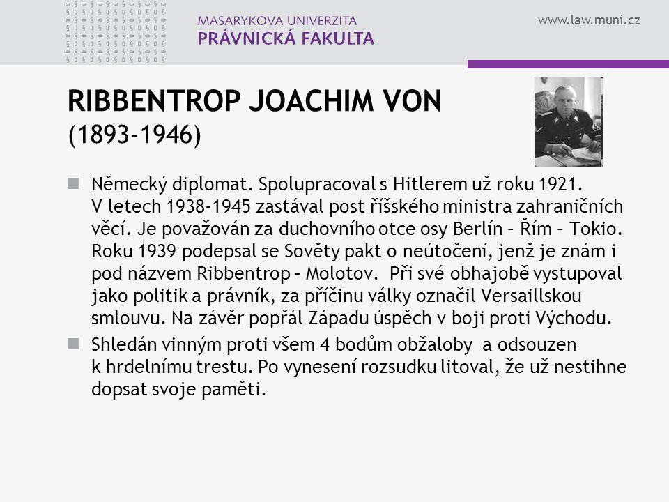 RIBBENTROP JOACHIM VON (1893-1946)