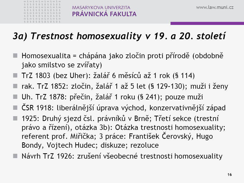 3a) Trestnost homosexuality v 19. a 20. století