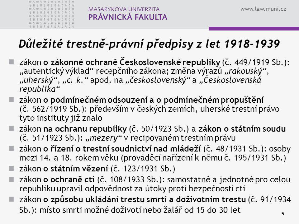 Důležité trestně-právní předpisy z let 1918-1939
