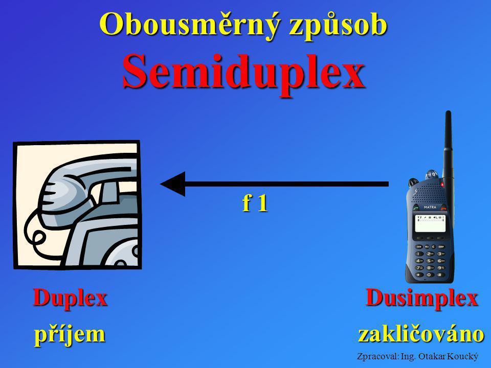 Obousměrný způsob Semiduplex f 1 Duplex příjem Dusimplex zakličováno