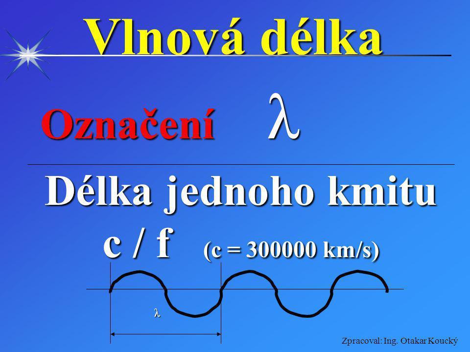 Vlnová délka Označení Délka jednoho kmitu c / f (c = 300000 km/s)