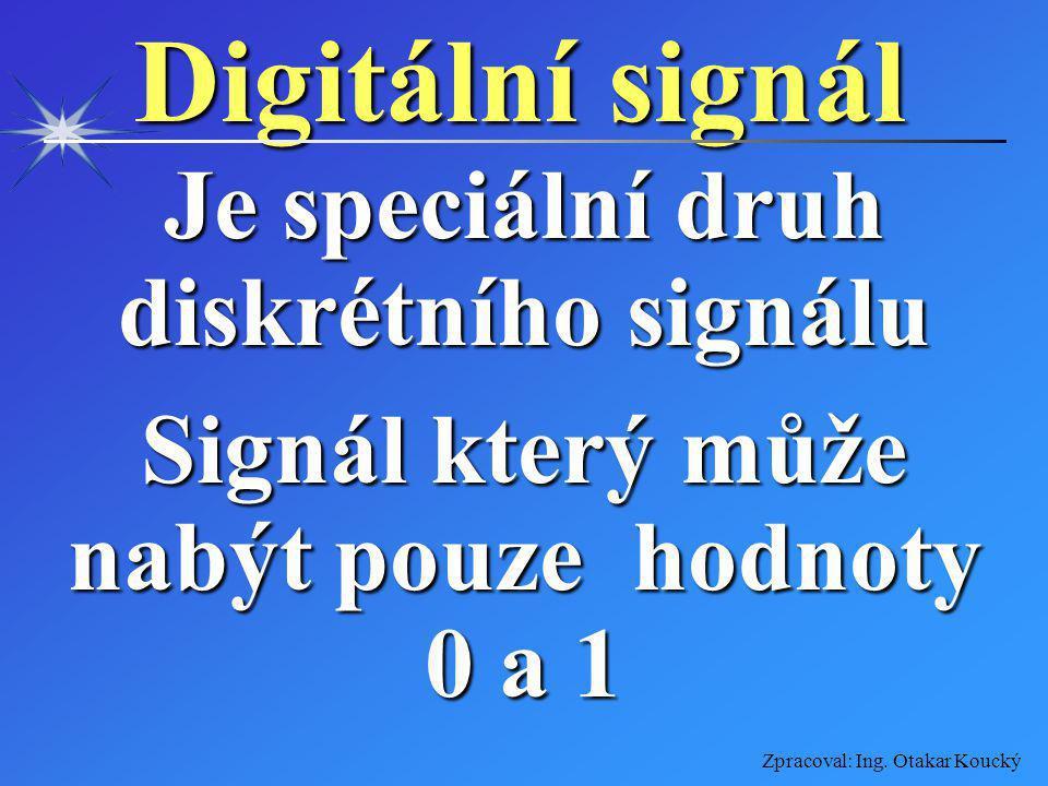 Digitální signál Je speciální druh diskrétního signálu