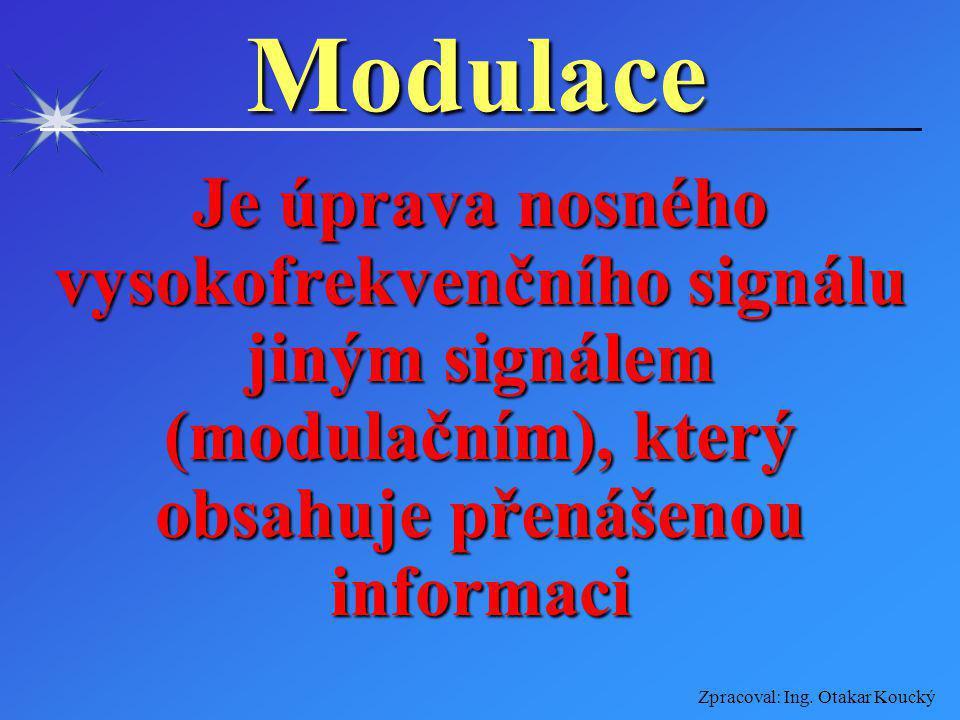 Modulace Je úprava nosného vysokofrekvenčního signálu jiným signálem (modulačním), který obsahuje přenášenou informaci.
