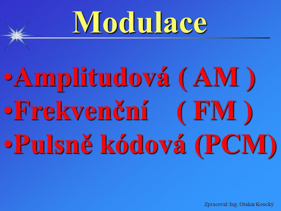 Modulace Amplitudová ( AM ) Frekvenční ( FM ) Pulsně kódová (PCM)
