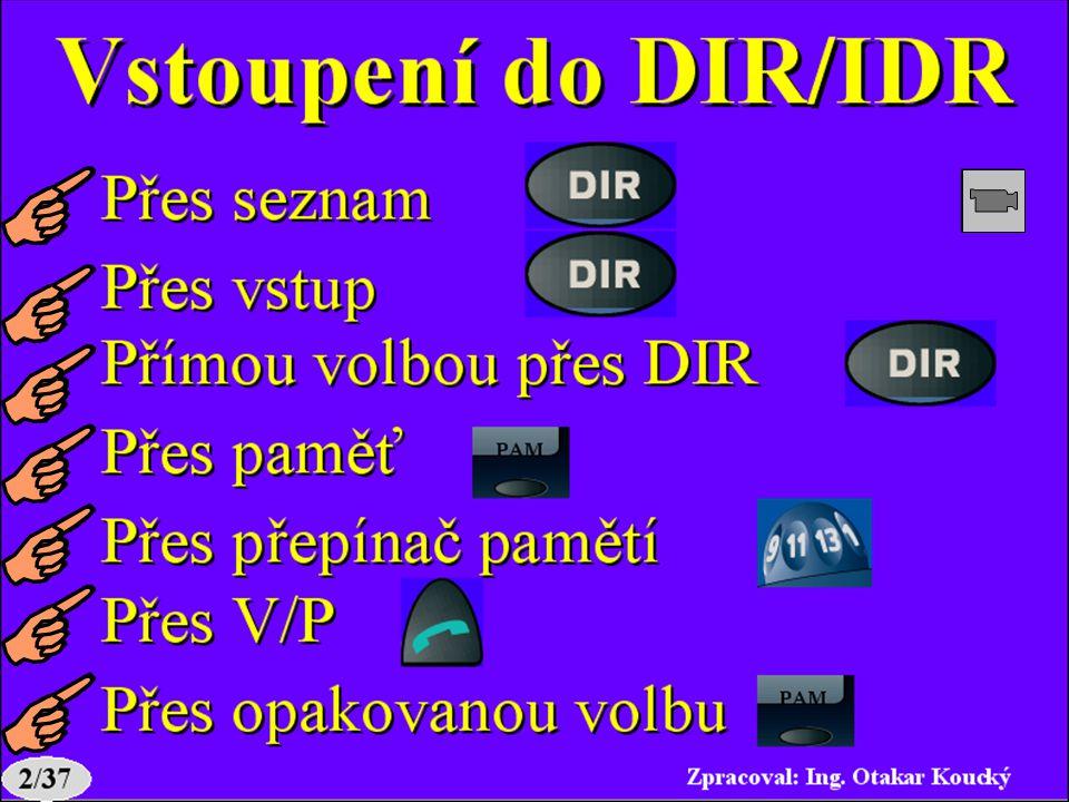 Vstoupení do DIR/IDR 1. Přes seznam 2. Přes vstup