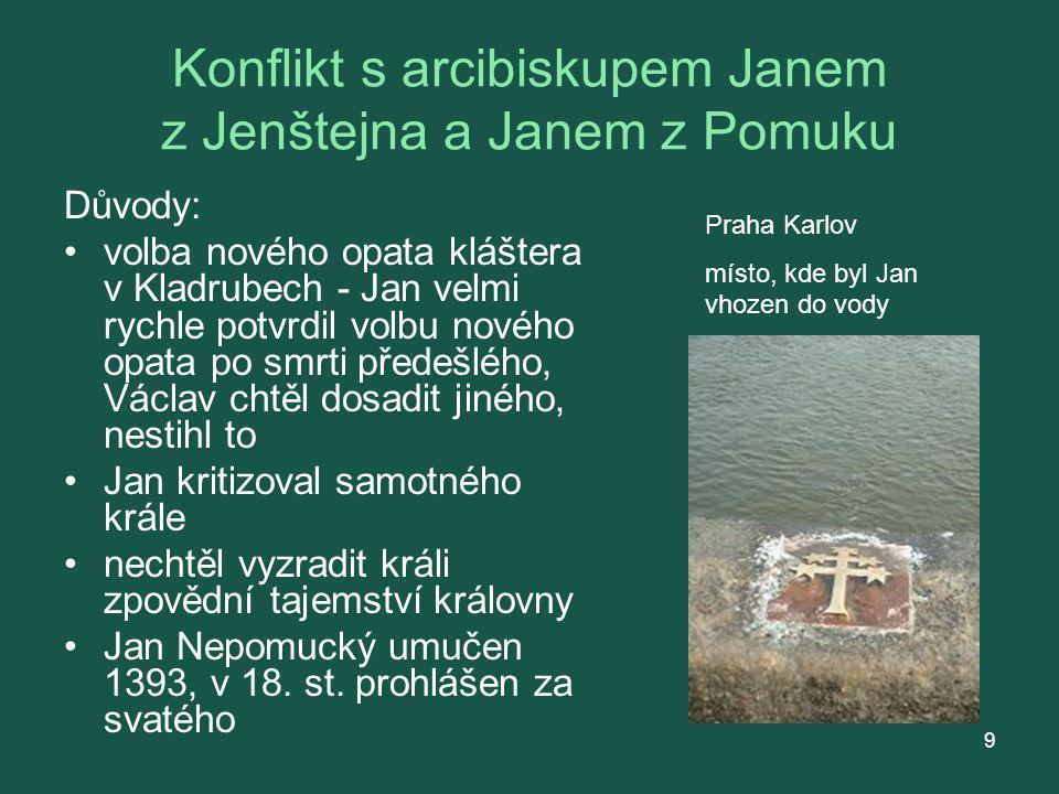 Konflikt s arcibiskupem Janem z Jenštejna a Janem z Pomuku