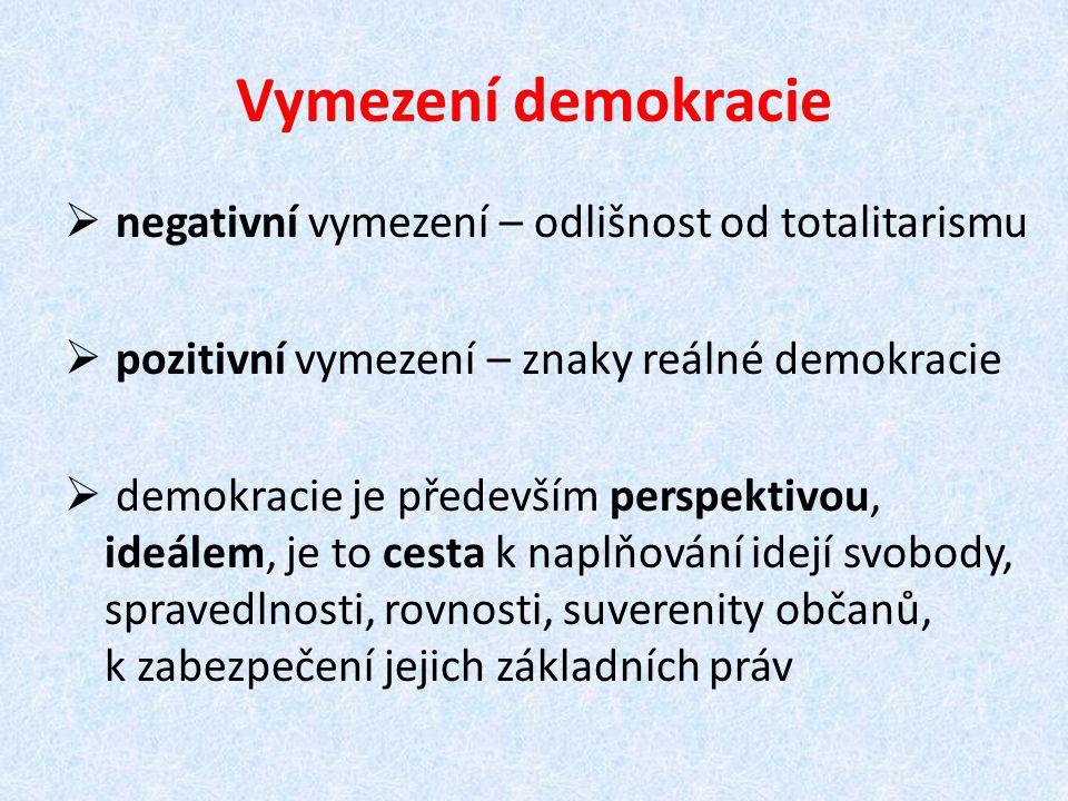 Vymezení demokracie negativní vymezení – odlišnost od totalitarismu