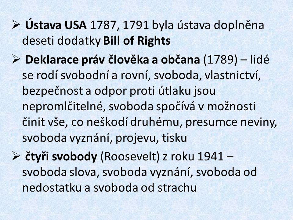 Ústava USA 1787, 1791 byla ústava doplněna deseti dodatky Bill of Rights