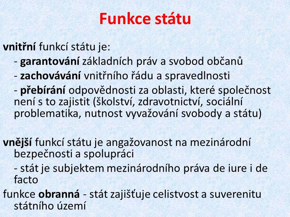 Funkce státu vnitřní funkcí státu je: