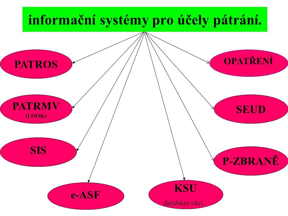informační systémy pro účely pátrání.