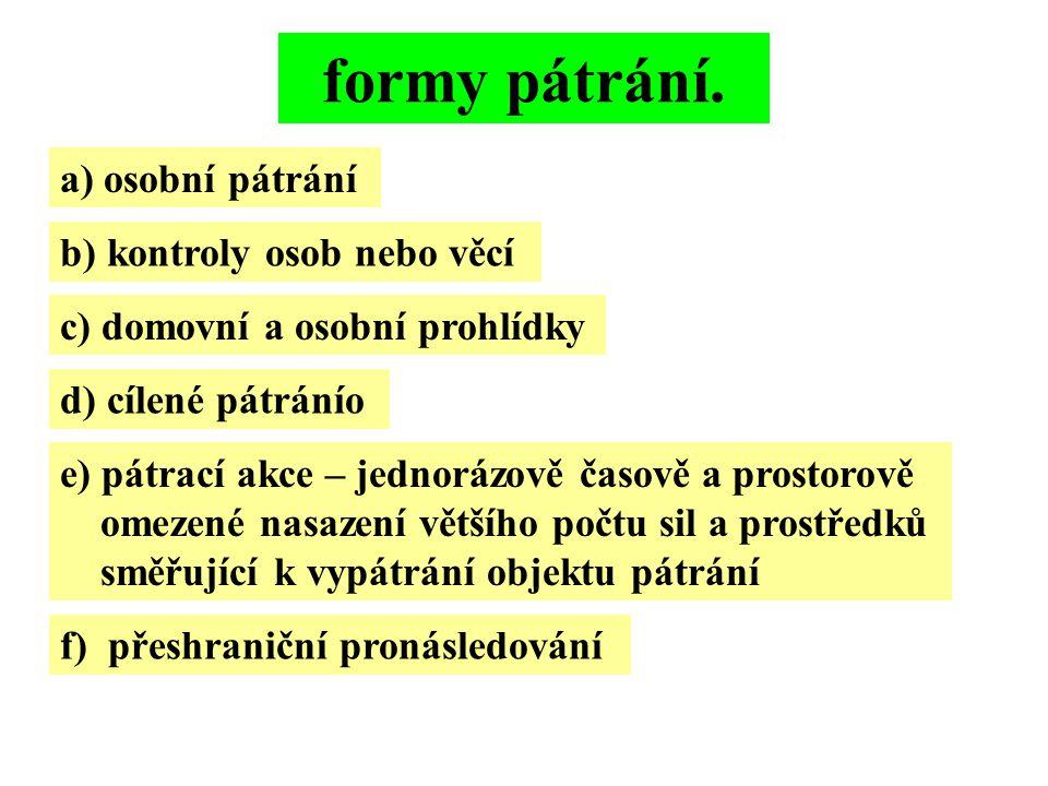 formy pátrání. a) osobní pátrání b) kontroly osob nebo věcí