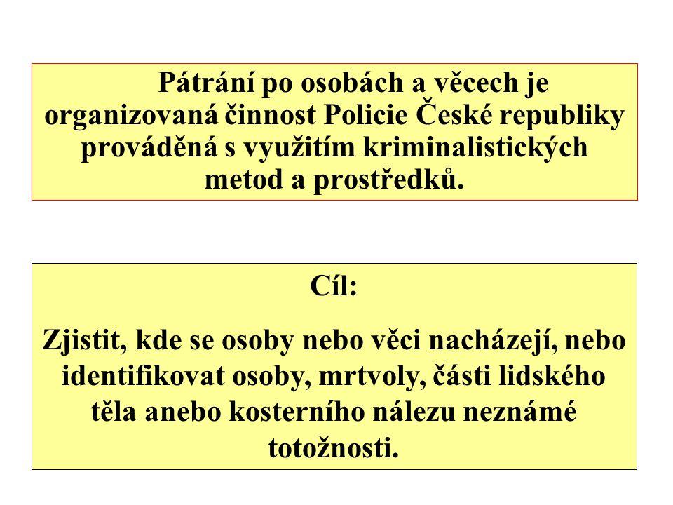 Pátrání po osobách a věcech je organizovaná činnost Policie České republiky prováděná s využitím kriminalistických metod a prostředků.