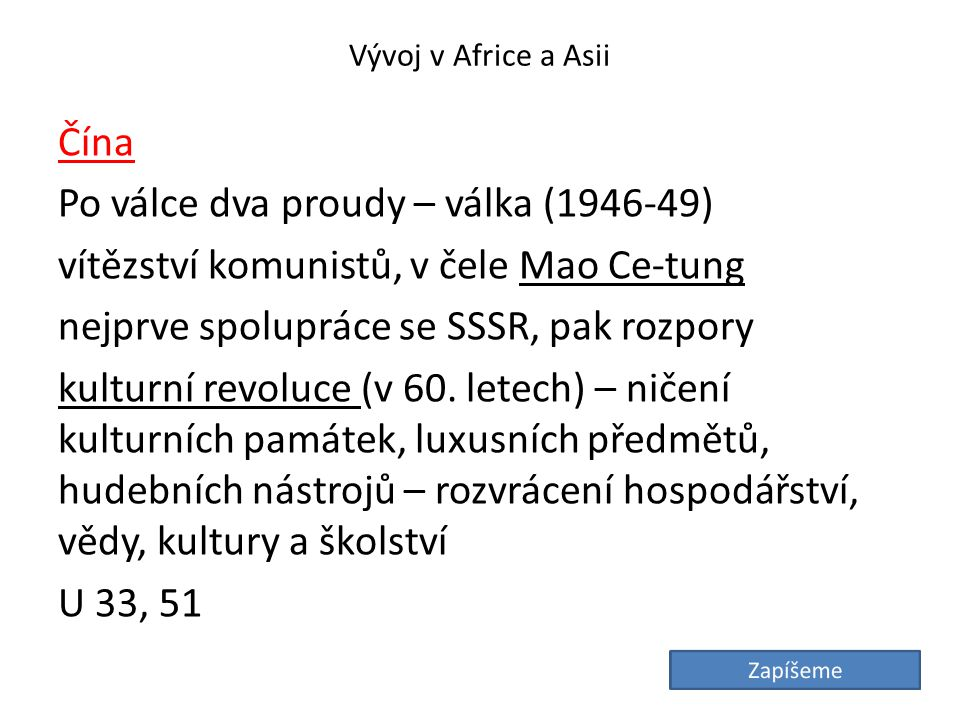 Vývoj v Africe a Asii