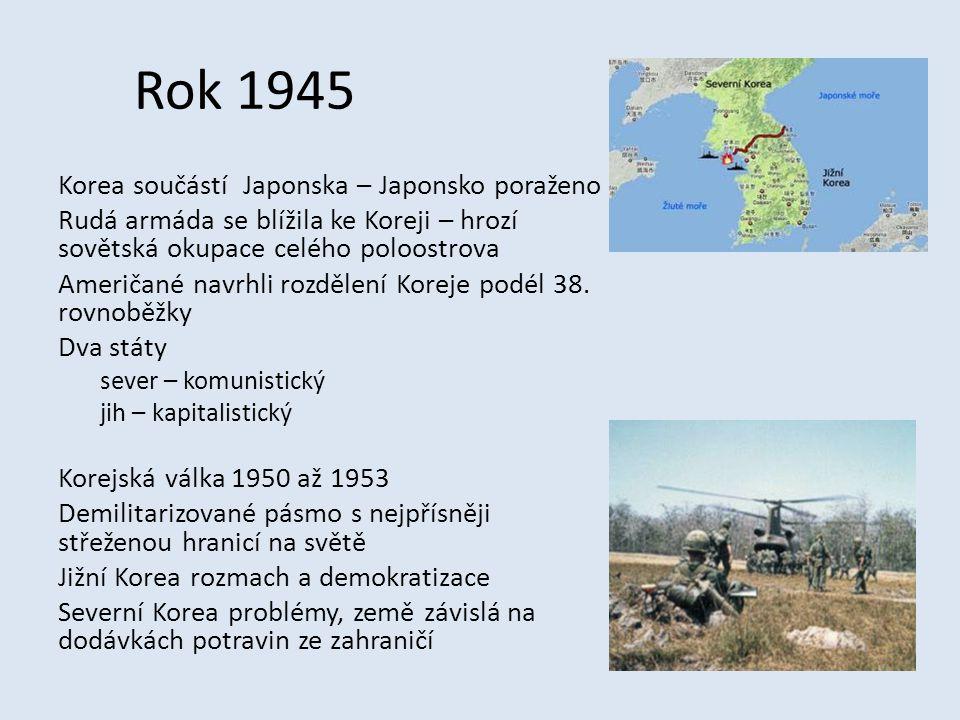 Rok 1945 Korea součástí Japonska – Japonsko poraženo