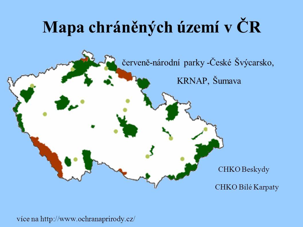 Mapa chráněných území v ČR