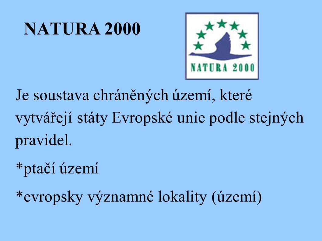 NATURA 2000 Je soustava chráněných území, které vytvářejí státy Evropské unie podle stejných pravidel.