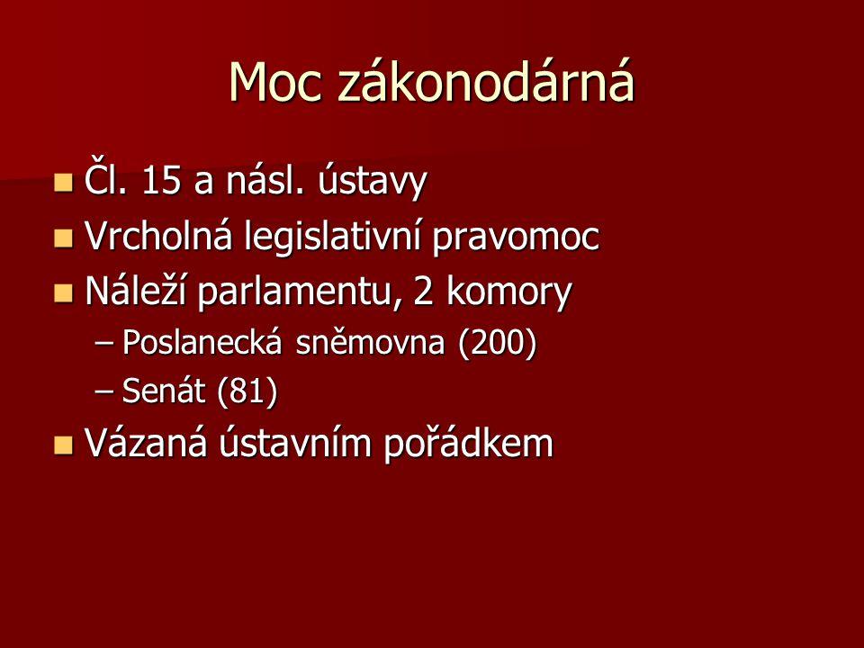 Moc zákonodárná Čl. 15 a násl. ústavy Vrcholná legislativní pravomoc