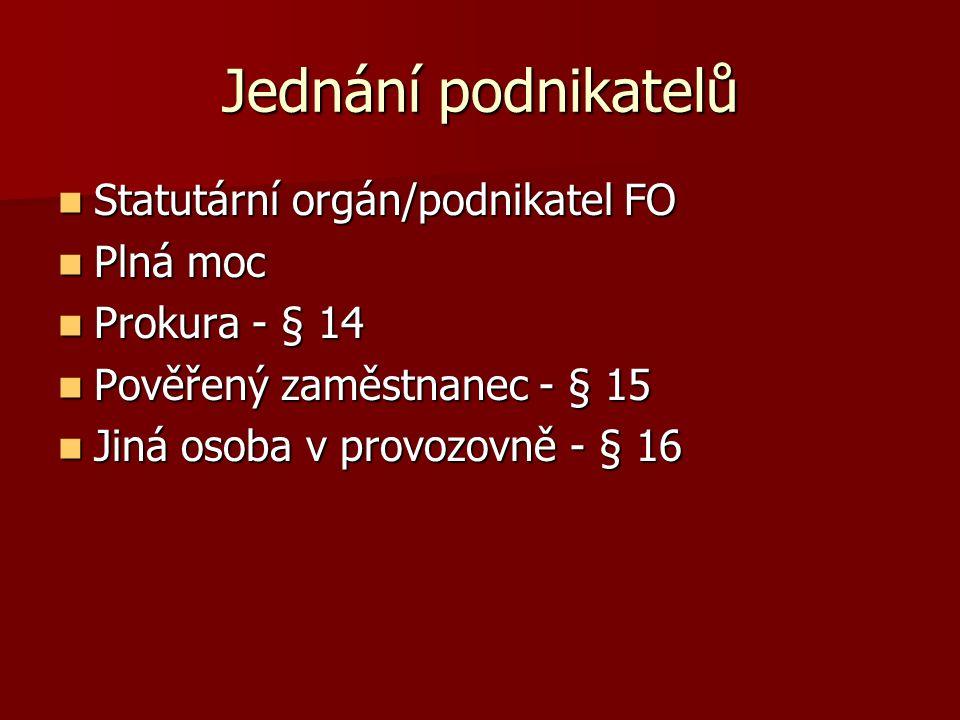 Jednání podnikatelů Statutární orgán/podnikatel FO Plná moc