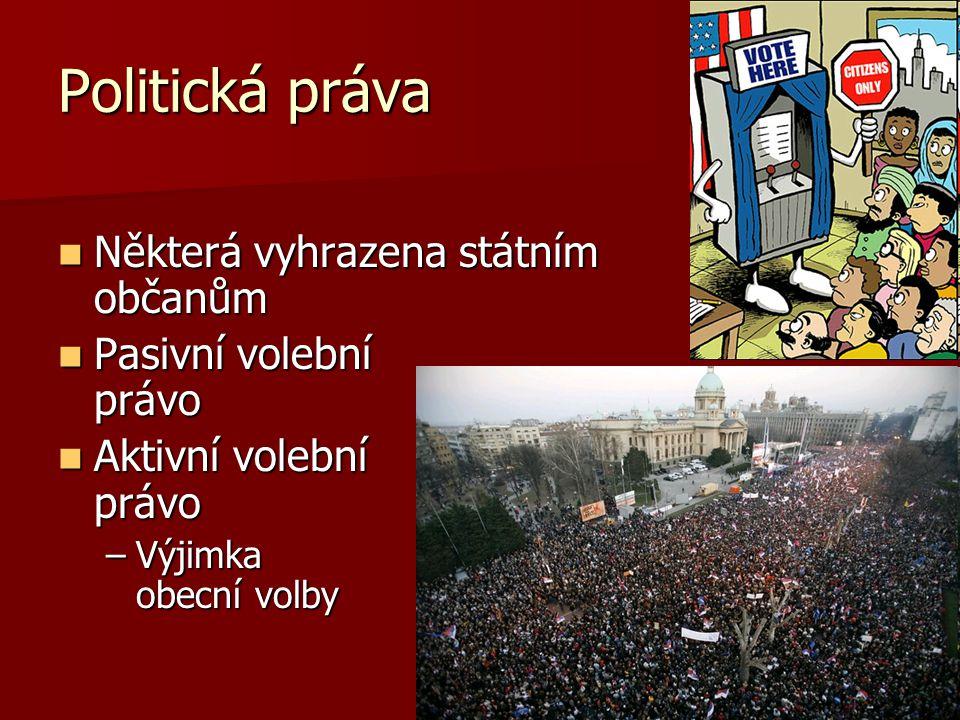 Politická práva Některá vyhrazena státním občanům