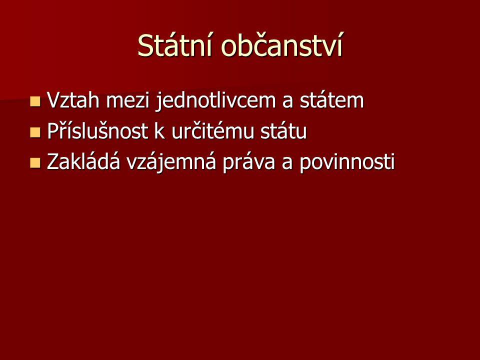 Státní občanství Vztah mezi jednotlivcem a státem