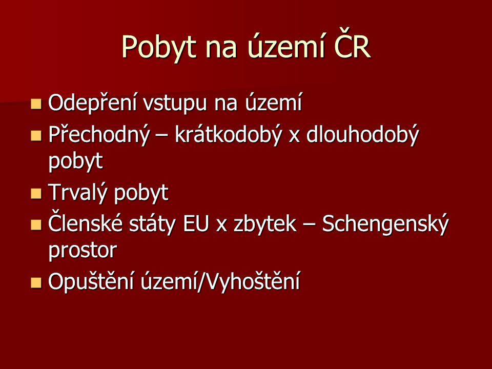 Pobyt na území ČR Odepření vstupu na území