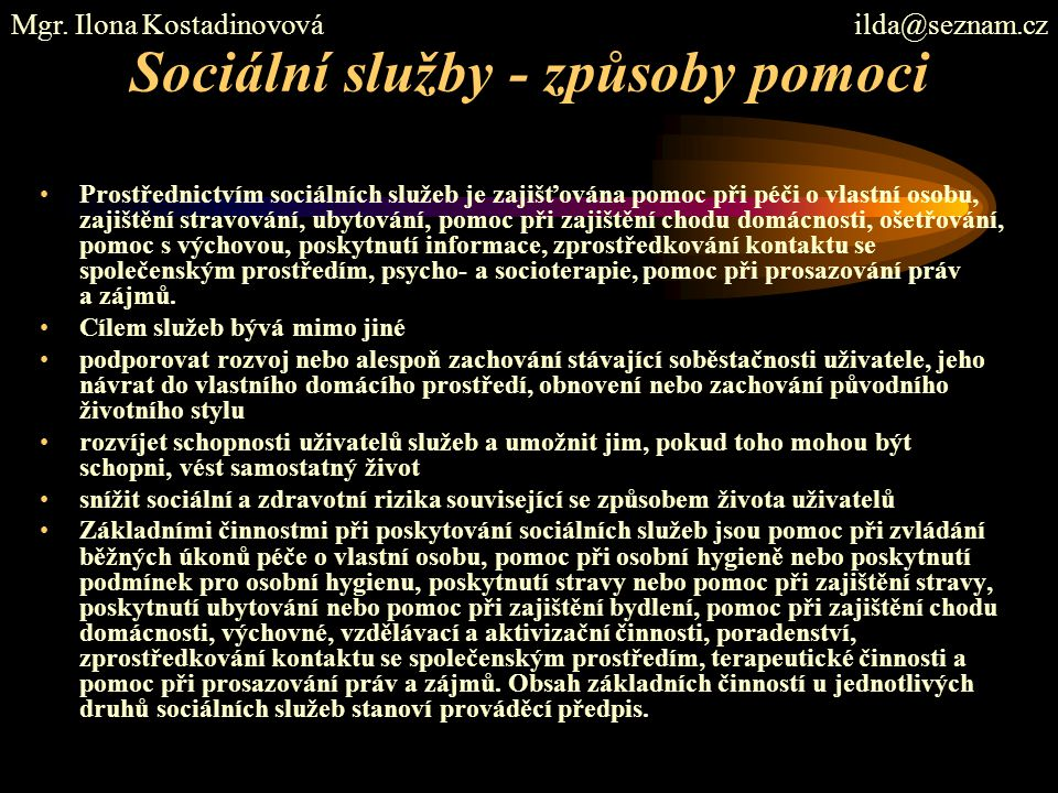 Sociální služby - způsoby pomoci