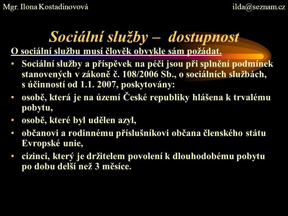 Sociální služby – dostupnost