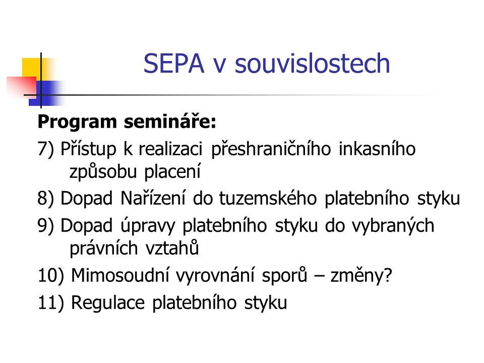 SEPA v souvislostech Program semináře: