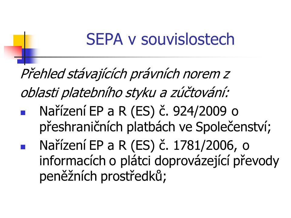 SEPA v souvislostech Přehled stávajících právních norem z