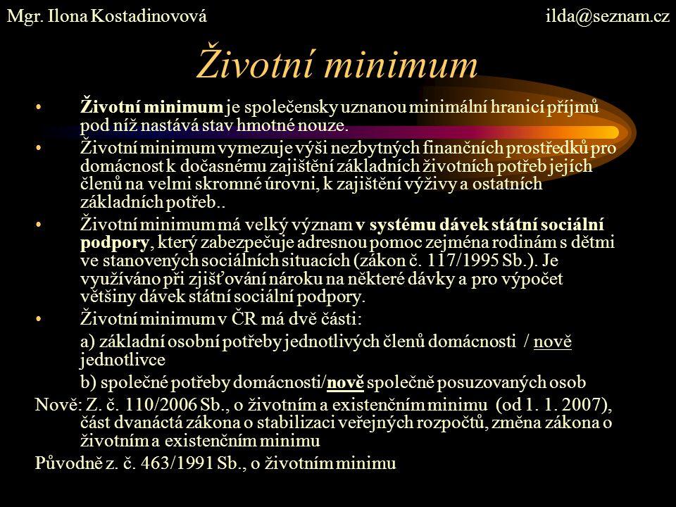 Životní minimum Mgr. Ilona Kostadinovová ilda@seznam.cz