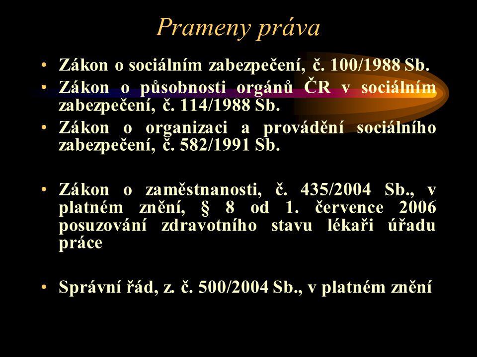 Prameny práva Zákon o sociálním zabezpečení, č. 100/1988 Sb.
