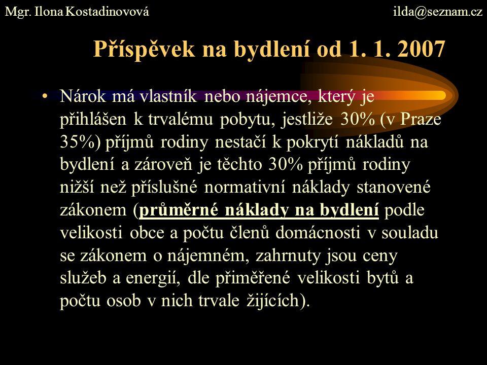 Příspěvek na bydlení od 1. 1. 2007