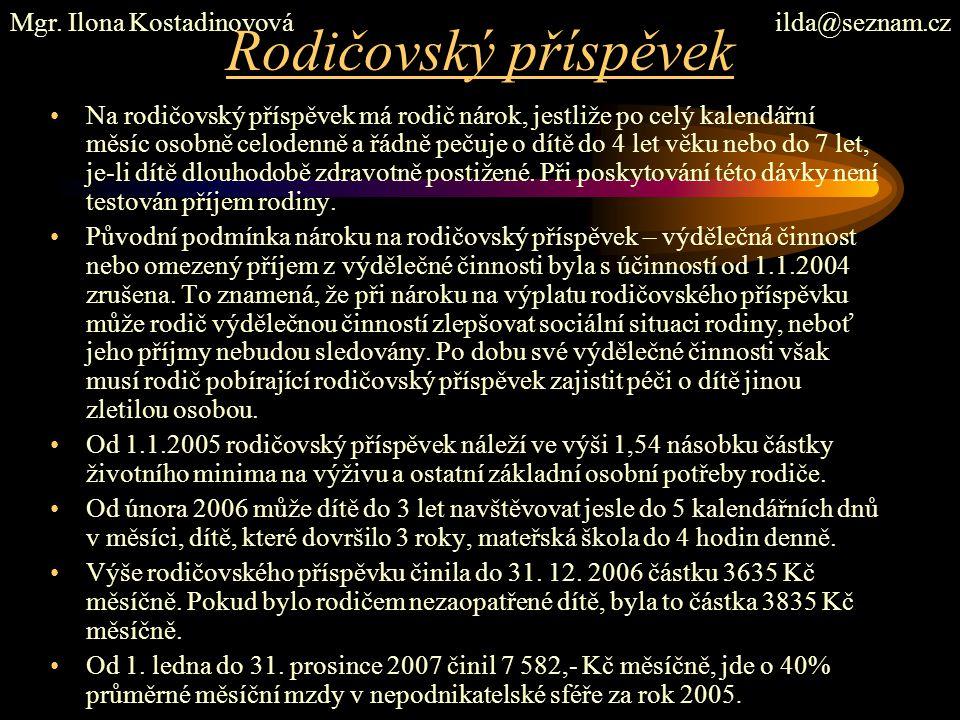 Rodičovský příspěvek Mgr. Ilona Kostadinovová ilda@seznam.cz