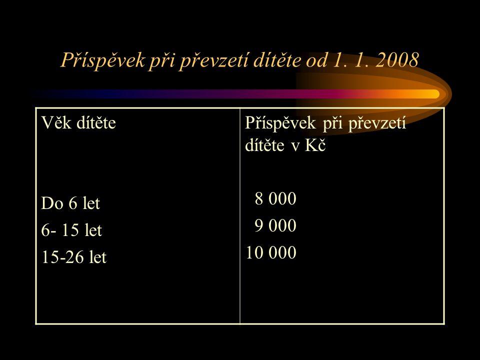 Příspěvek při převzetí dítěte od 1. 1. 2008