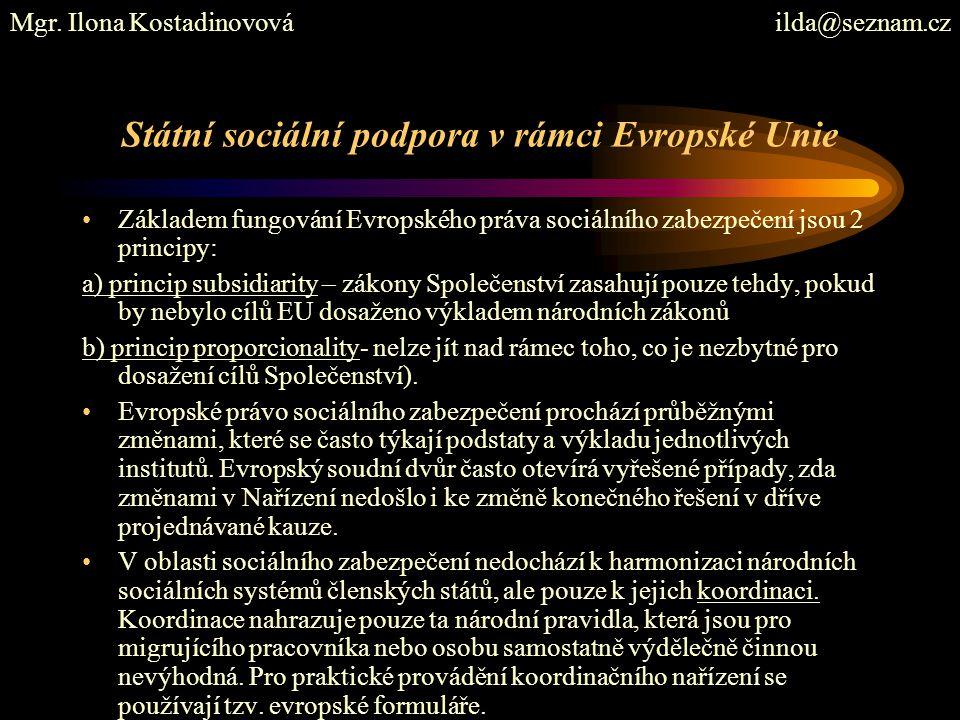 Státní sociální podpora v rámci Evropské Unie