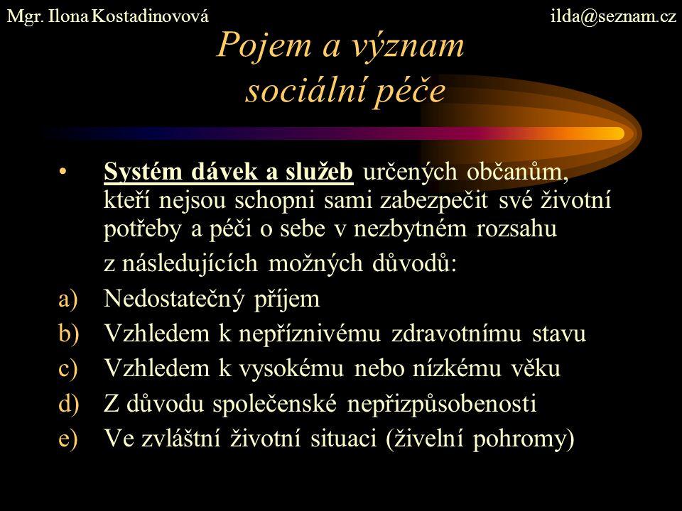 Pojem a význam sociální péče