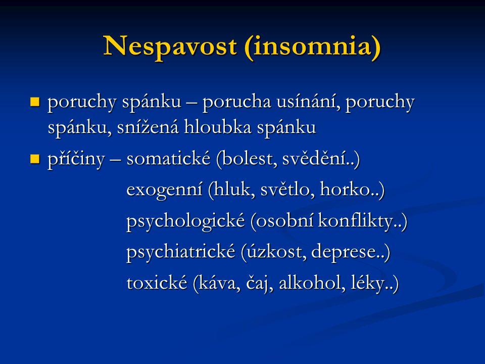 Nespavost (insomnia) poruchy spánku – porucha usínání, poruchy spánku, snížená hloubka spánku. příčiny – somatické (bolest, svědění..)