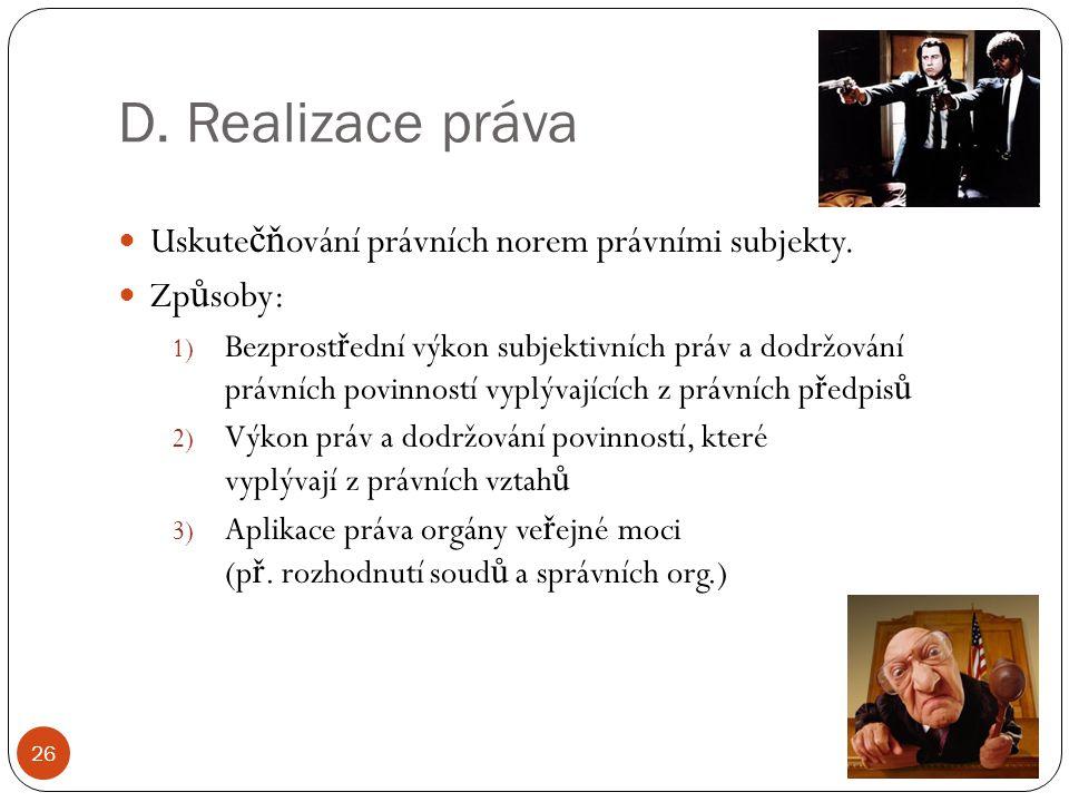 D. Realizace práva Uskutečňování právních norem právními subjekty.