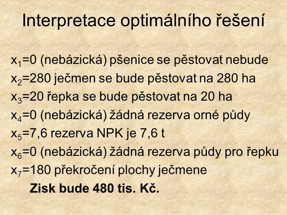 Interpretace optimálního řešení