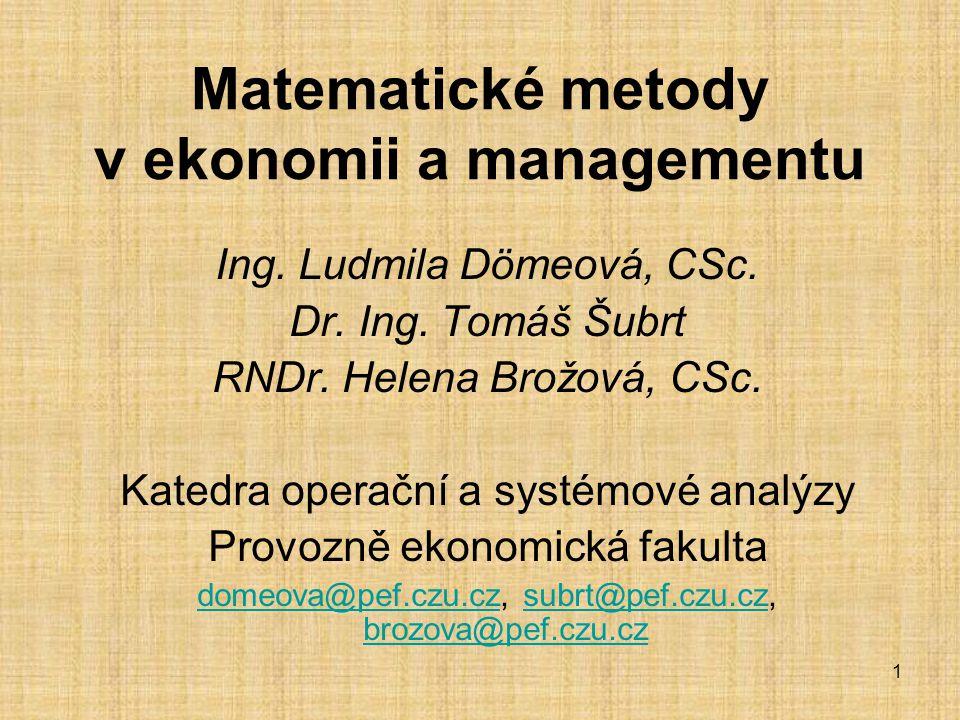 Matematické metody v ekonomii a managementu