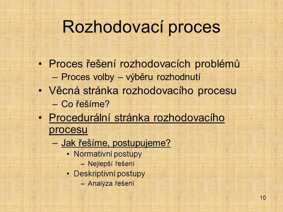 Rozhodovací proces Proces řešení rozhodovacích problémů