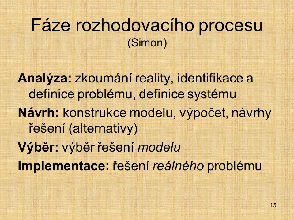 Fáze rozhodovacího procesu (Simon)