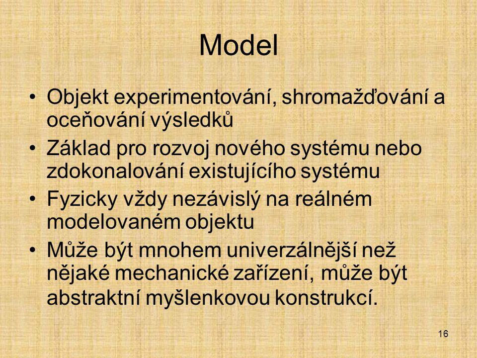 Model Objekt experimentování, shromažďování a oceňování výsledků