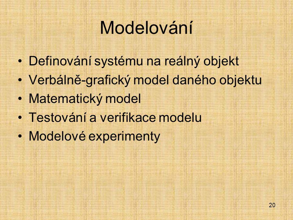 Modelování Definování systému na reálný objekt