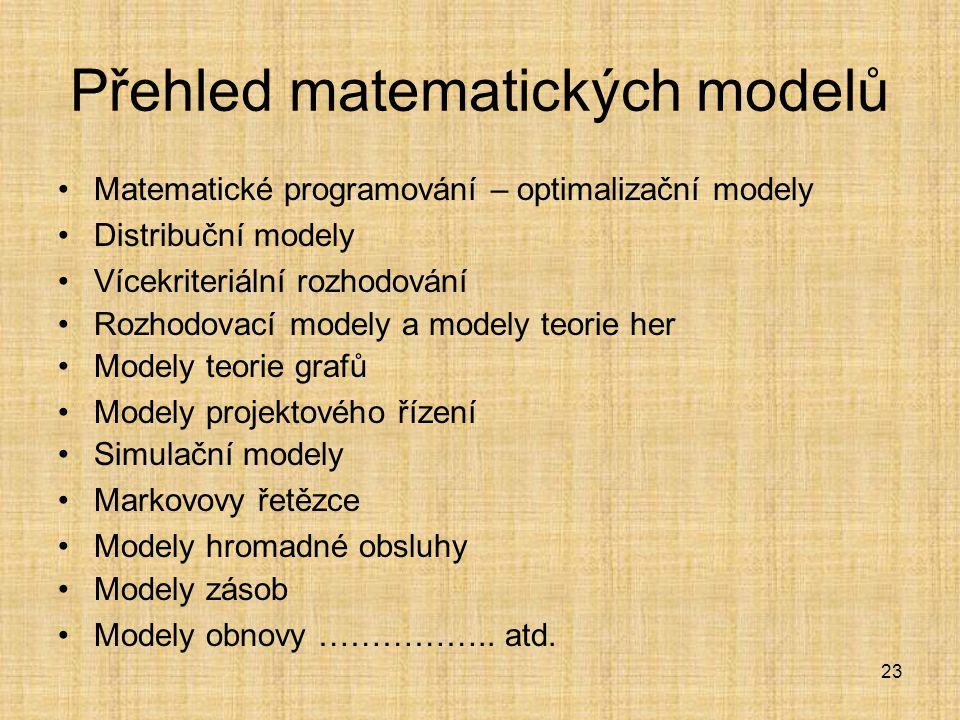 Přehled matematických modelů