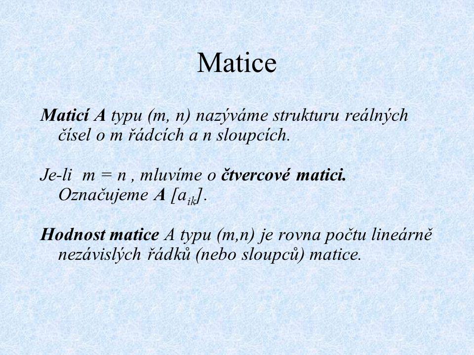 Matice Maticí A typu (m, n) nazýváme strukturu reálných čísel o m řádcích a n sloupcích.