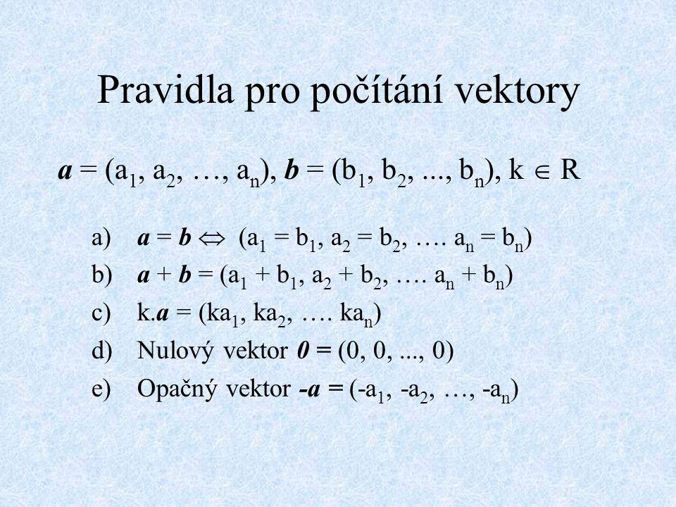 Pravidla pro počítání vektory